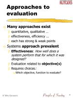 approaches to evaluation