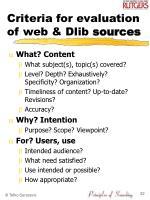 criteria for evaluation of web dlib sources