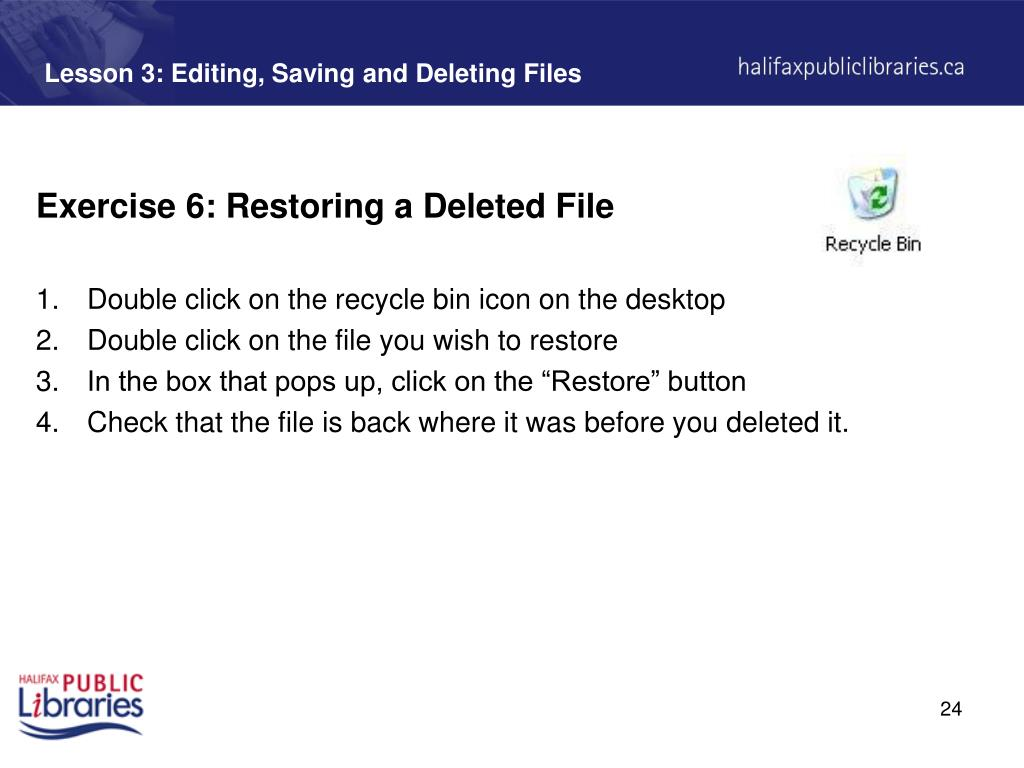 Lesson 3: Editing, Saving and Deleting Files
