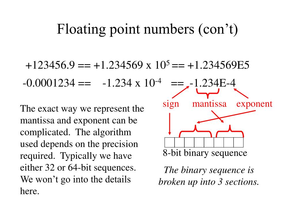 Floating point numbers (con't)