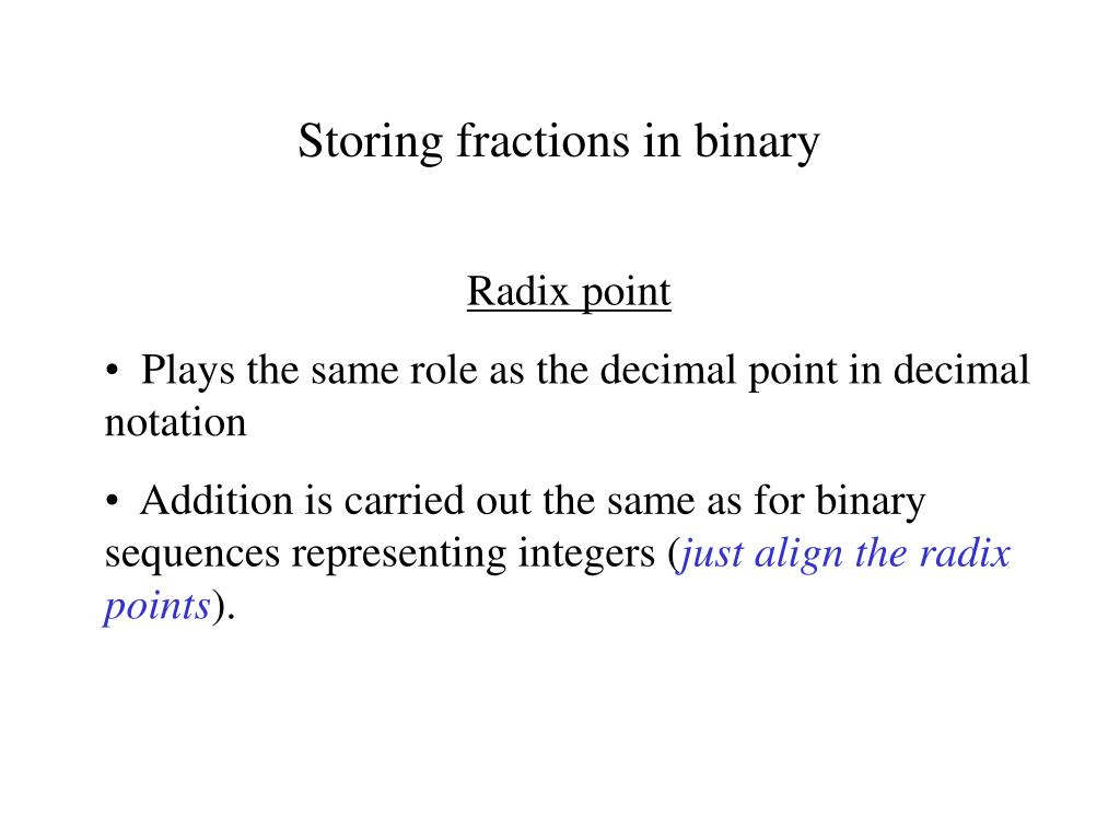 Storing fractions in binary