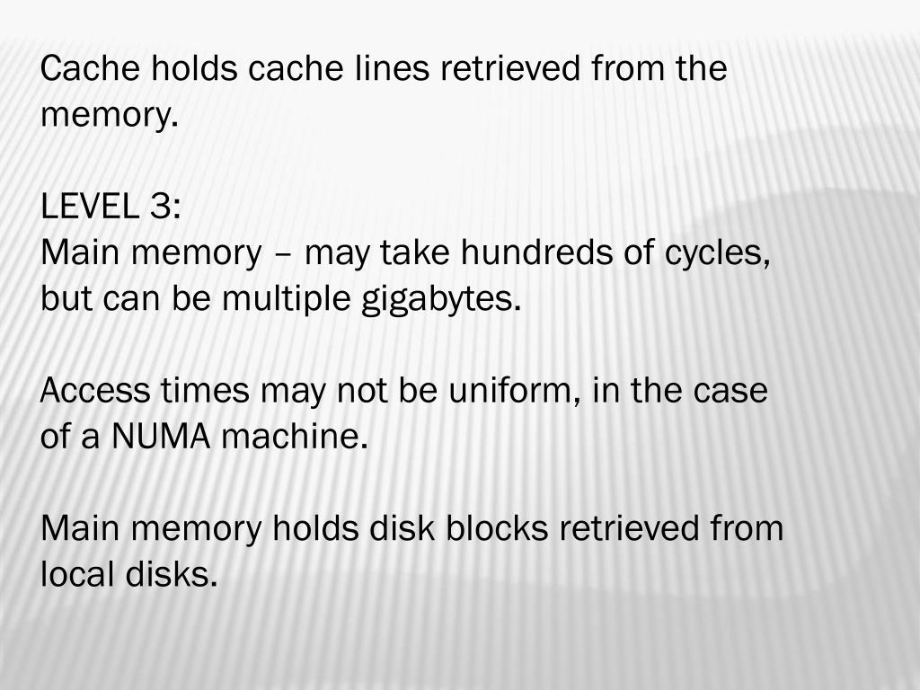 Cache holds cache lines retrieved from the memory.