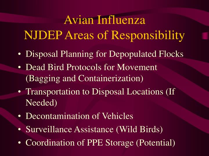 Avian influenza njdep areas of responsibility