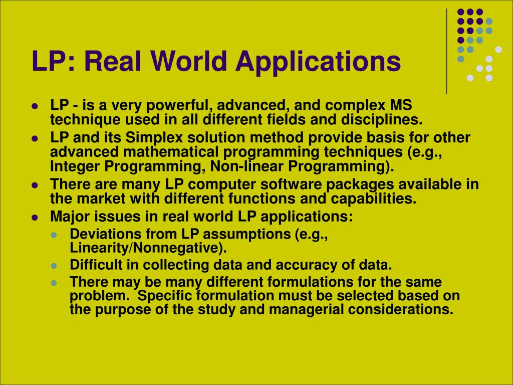 LP: Real World Applications