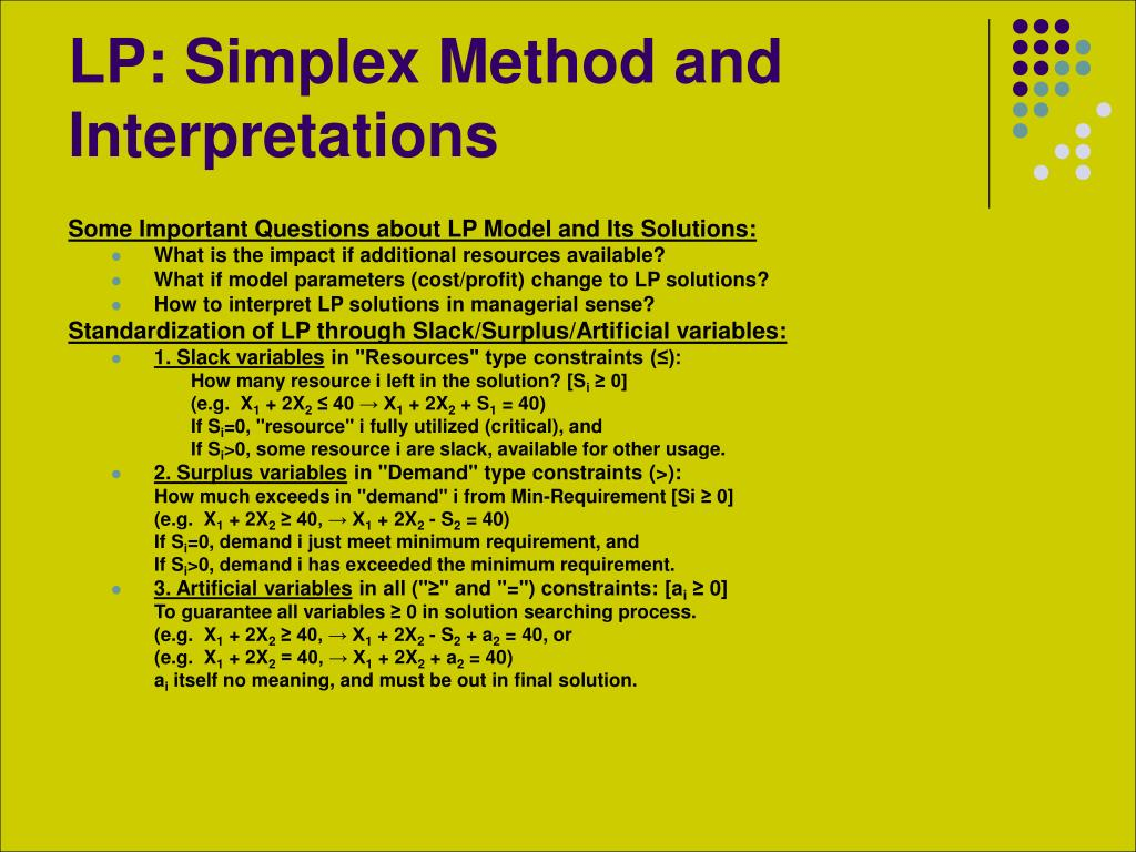 LP: Simplex Method and Interpretations