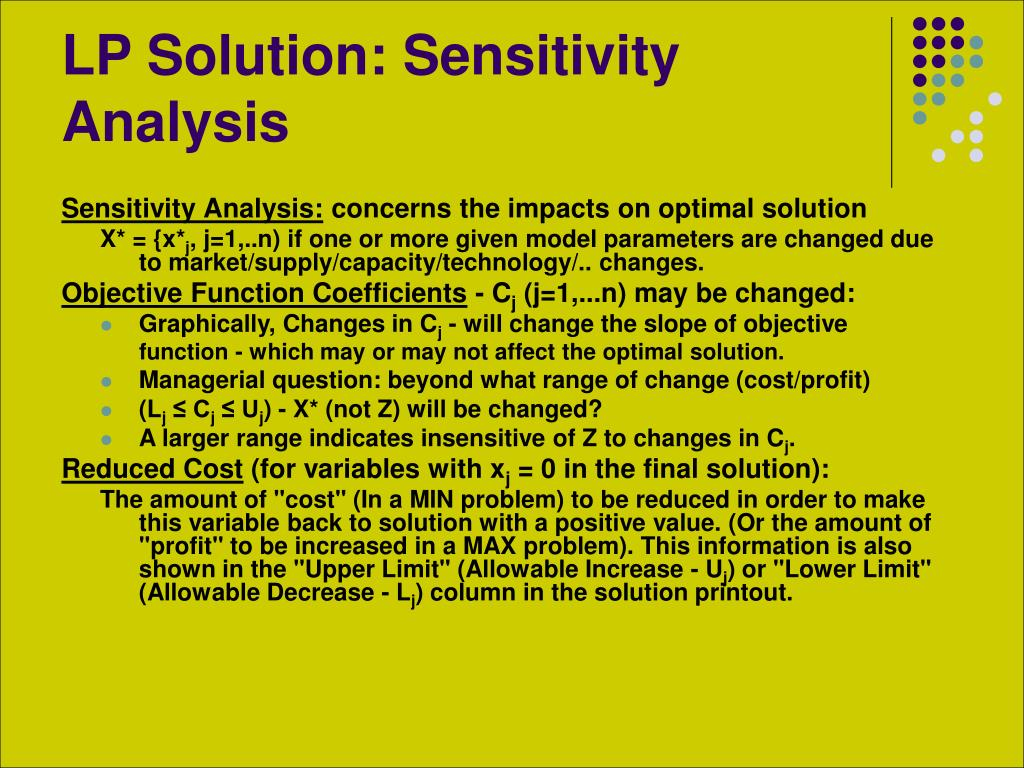 LP Solution: Sensitivity Analysis