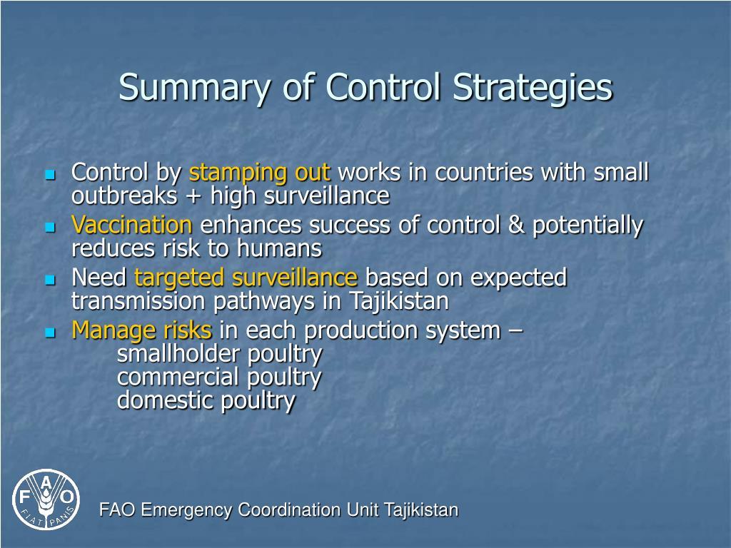 Summary of Control Strategies