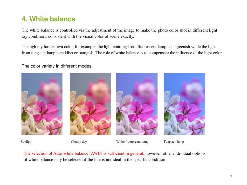 4. White balance
