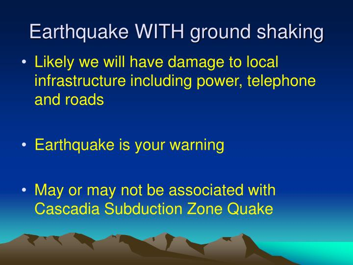Earthquake with ground shaking