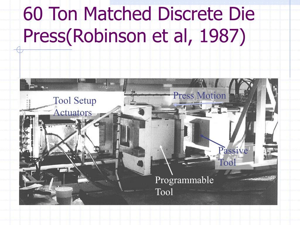60 Ton Matched Discrete Die Press(Robinson et al, 1987)