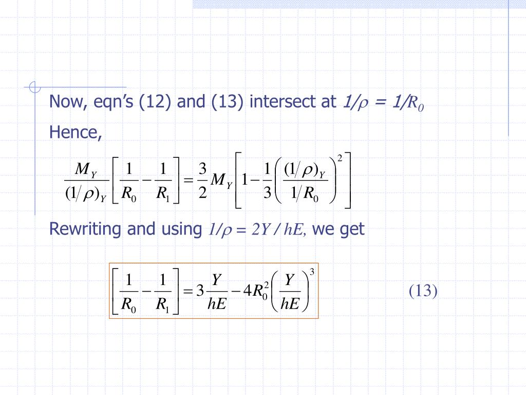 Now, eqn's (12) and (13) intersect at