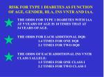 risk for type 1 diabetes as function of age gender hla ins vntr and iaa