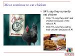most continue to eat chicken