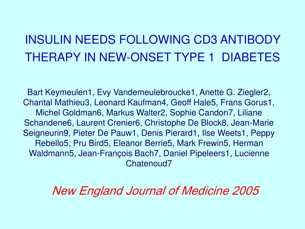 INSULIN NEEDS FOLLOWING CD3 ANTIBODY THERAPY IN NEW-ONSET TYPE 1  DIABETES