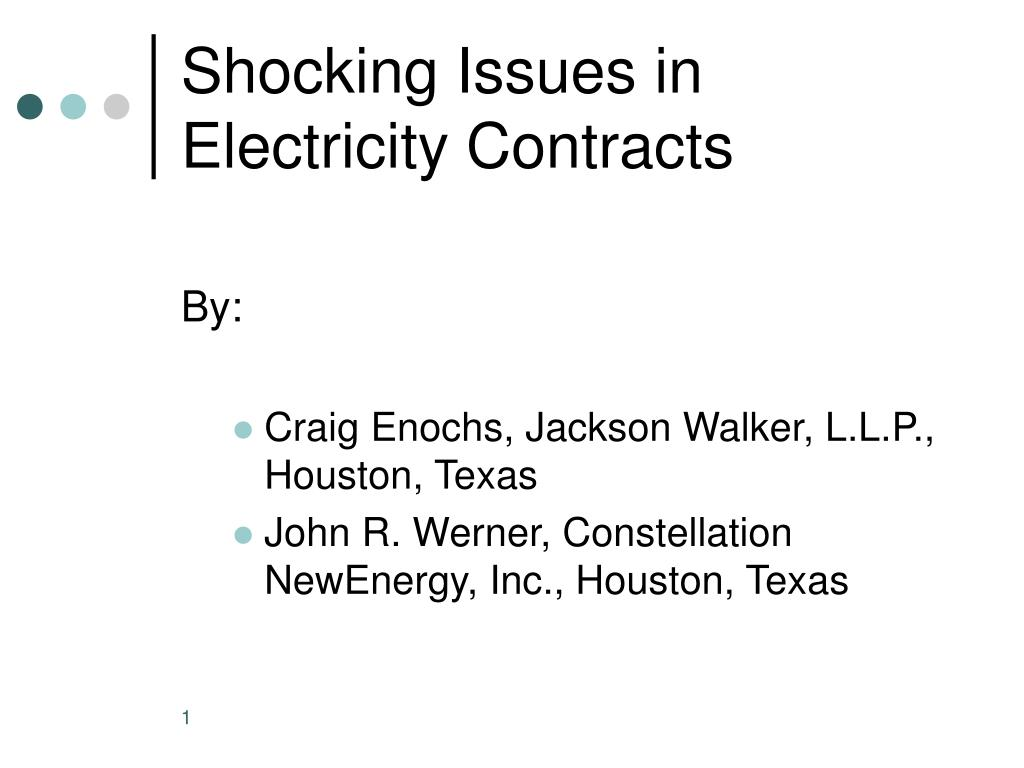 shocking issues in electricity contracts l.