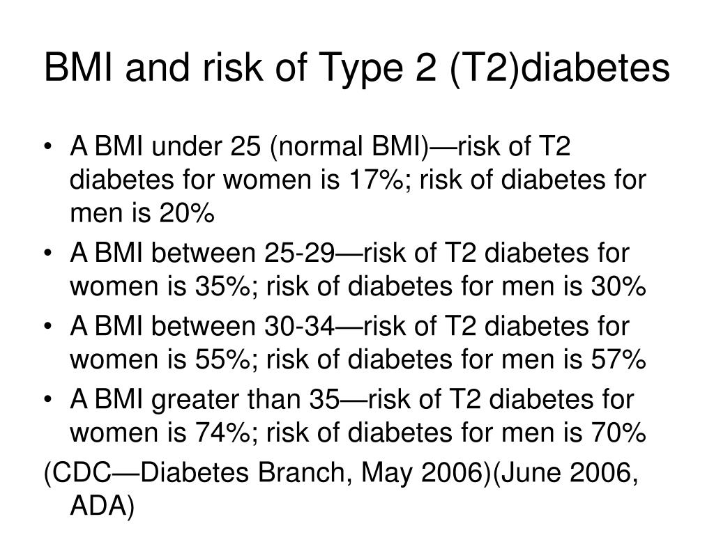 BMI and risk of Type 2 (T2)diabetes