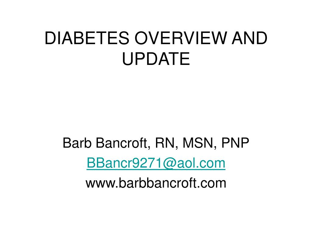 diabetes overview and update l.