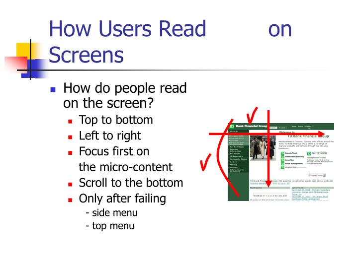 How Users Read         on Screens