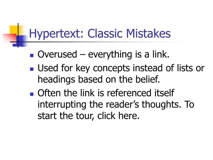 Hypertext: Classic Mistakes