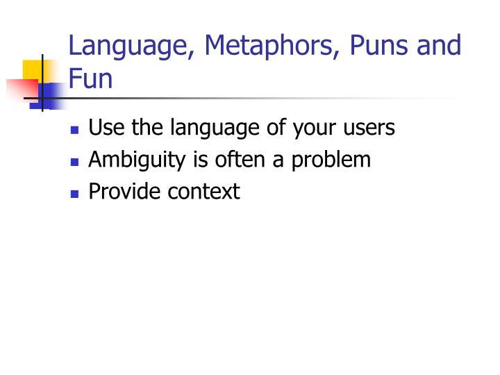 Language, Metaphors, Puns and Fun