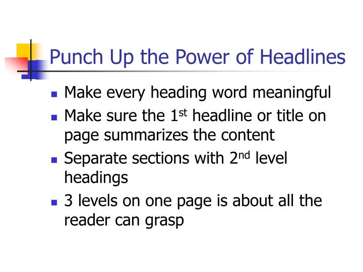 Punch Up the Power of Headlines