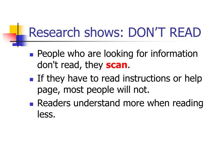 Research shows: DON'T READ