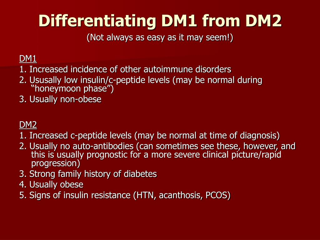 Differentiating DM1 from DM2
