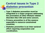 central issues in type 2 diabetes prevention