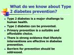 what do we know about type 2 diabetes prevention
