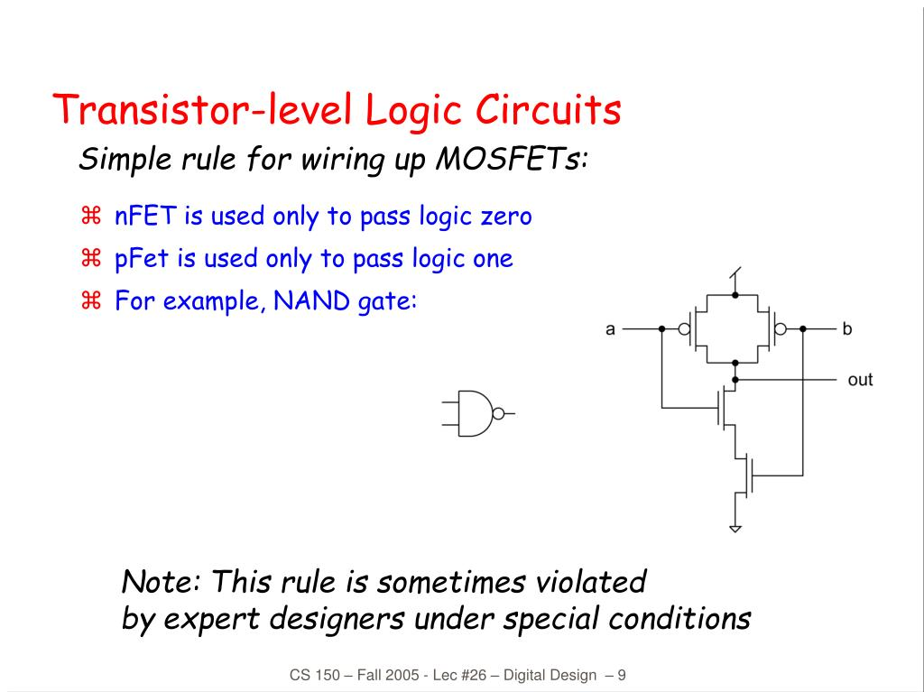 nFET is used only to pass logic zero