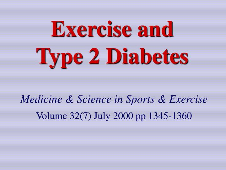 exercise and type 2 diabetes n.