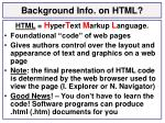 background info on html