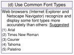 d use common font types