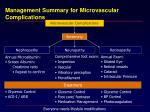 management summary for microvascular complications