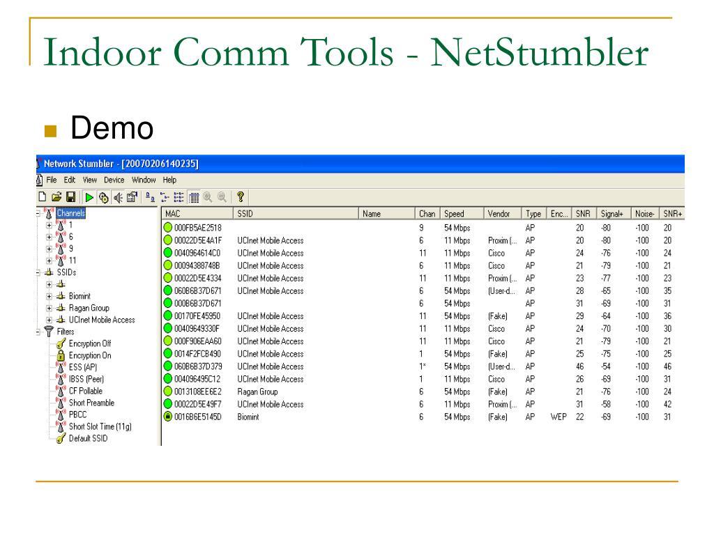 Indoor Comm Tools - NetStumbler