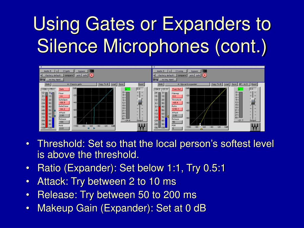 Using Gates or Expanders to Silence Microphones (cont.)