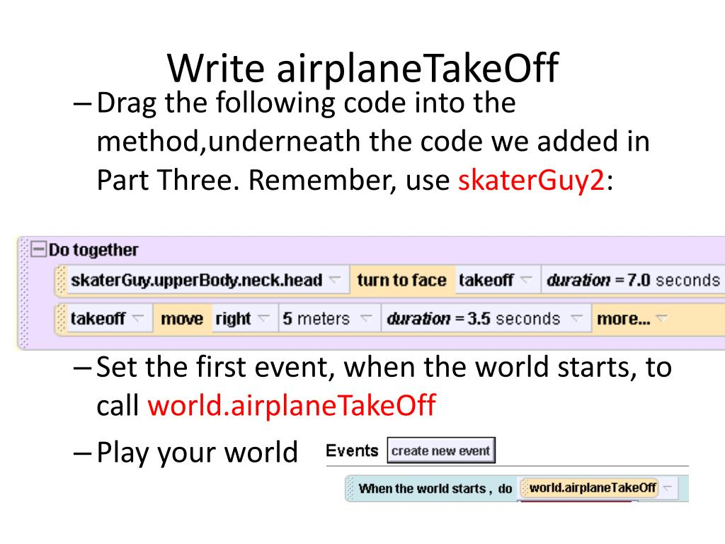 Write airplaneTakeOff