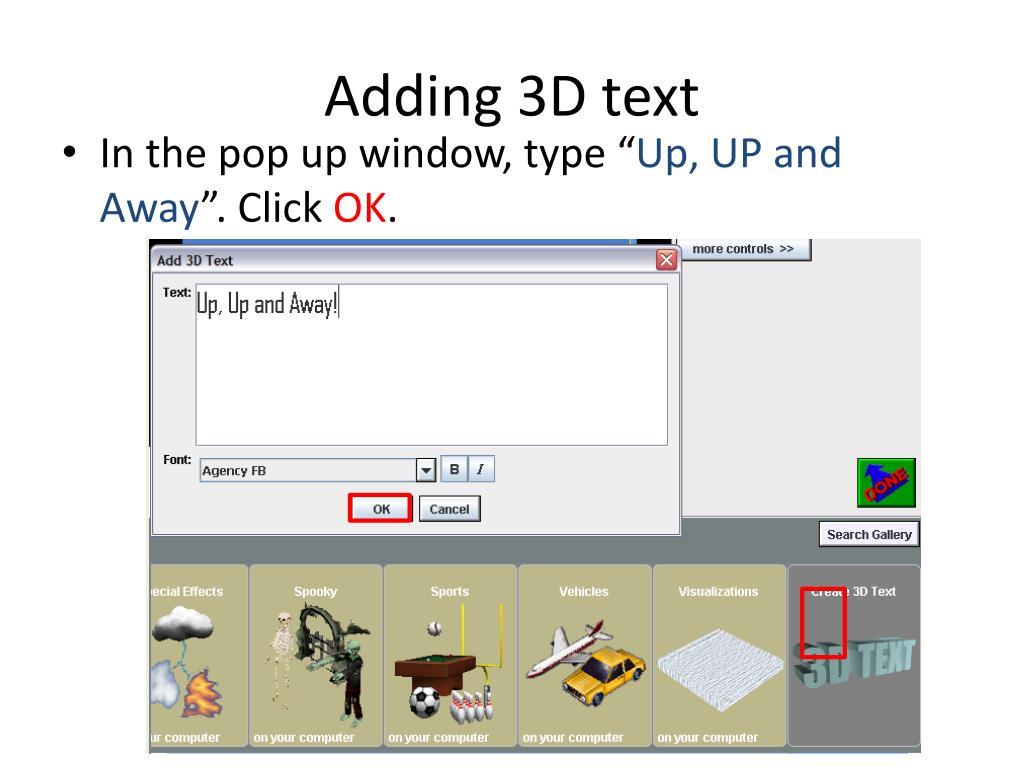 Adding 3D text