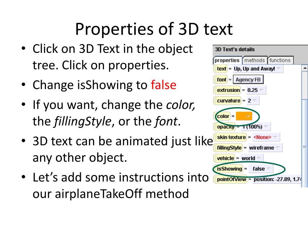 Properties of 3D text