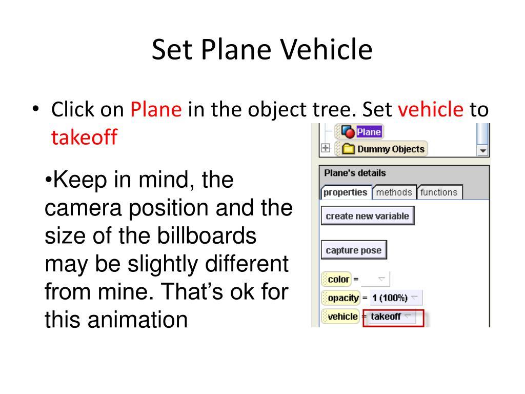 Set Plane Vehicle