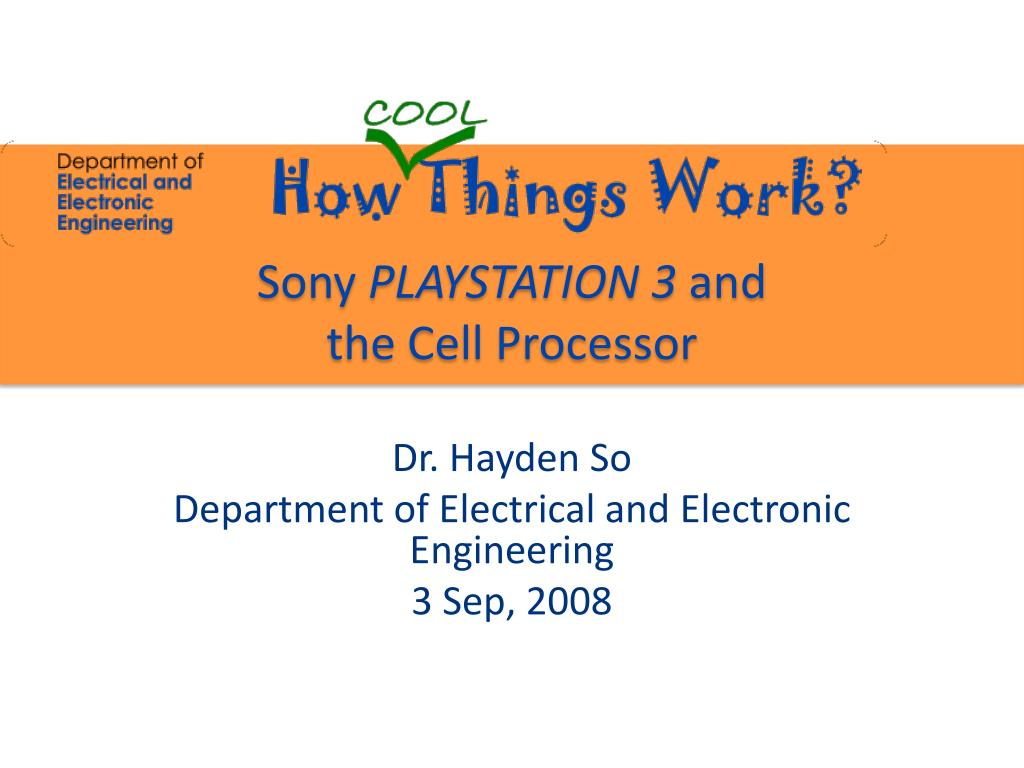 sony playstation 3 and the cell processor l.