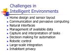 challenges in intelligent environments