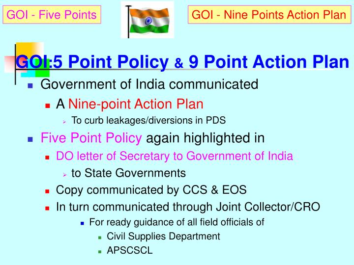 Goi 5 point policy 9 point action plan