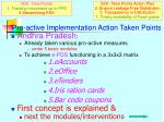 pro active implementation action taken points