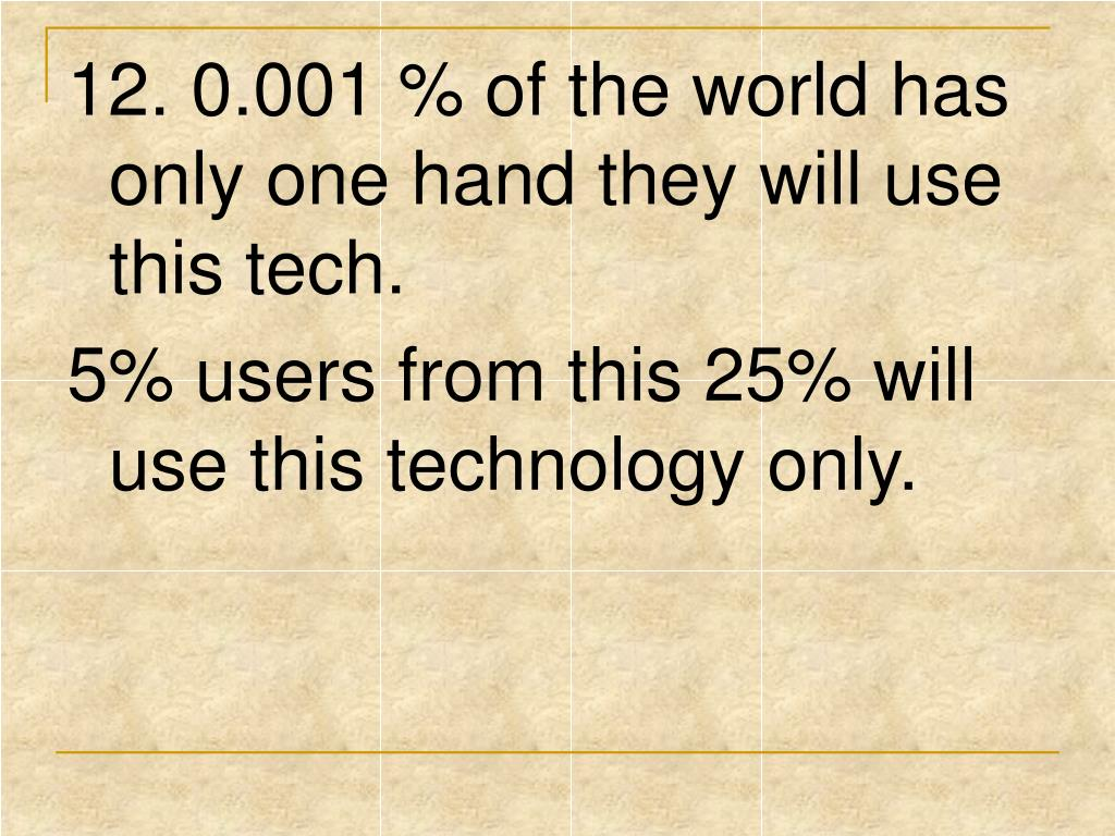 12. 0.001 % of the world has only one hand they will use this tech.
