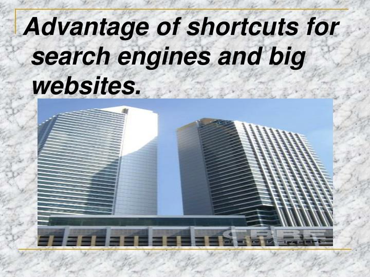 Advantage of shortcuts for search engines and big websites.