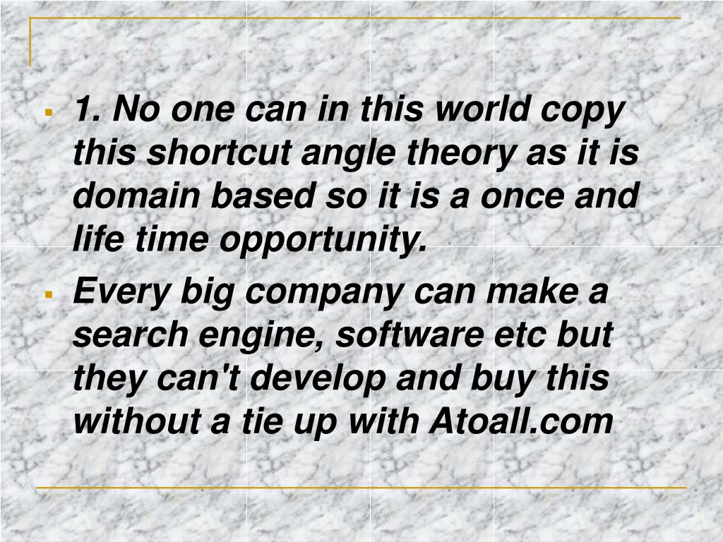 1. No one can in this world copy this shortcut angle theory as it is domain based so it is a once and life time opportunity.
