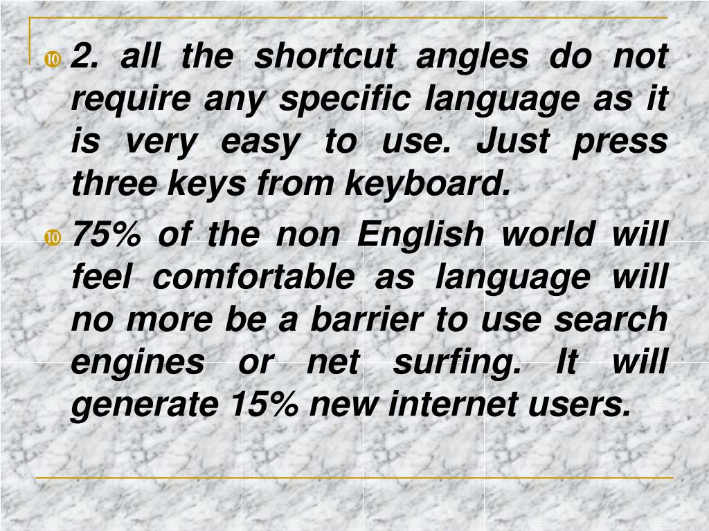 2. all the shortcut angles do not require any specific language as it is very easy to use. Just press three keys from keyboard.