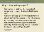 why bother writing a spec