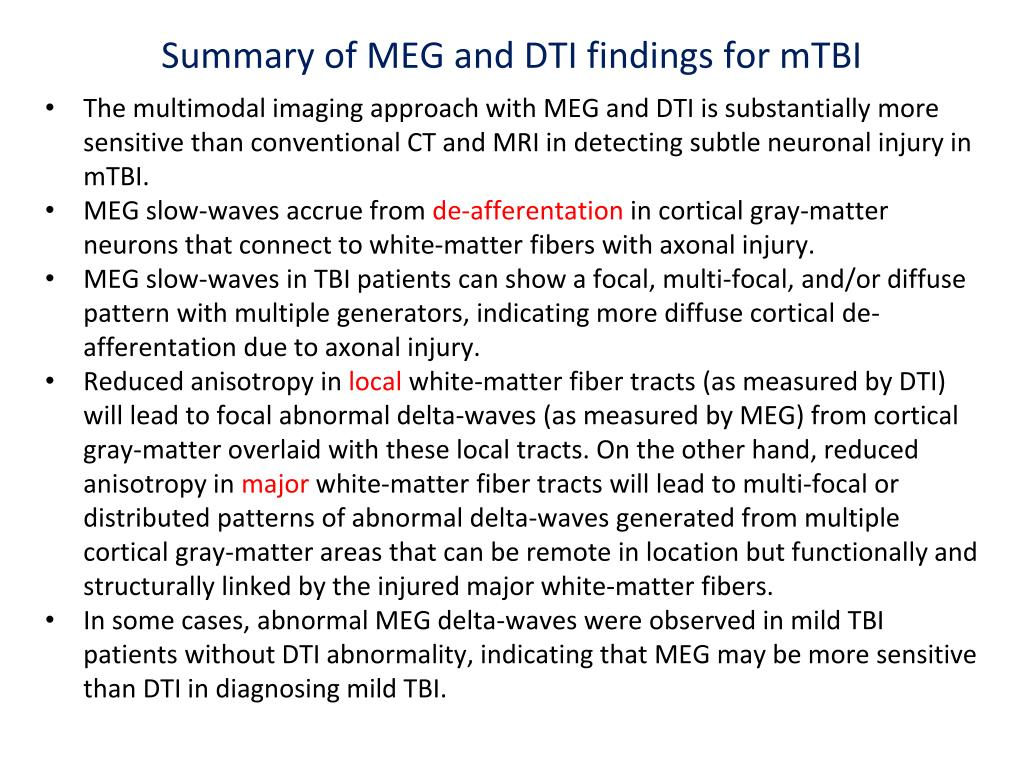 Summary of MEG and DTI findings for mTBI